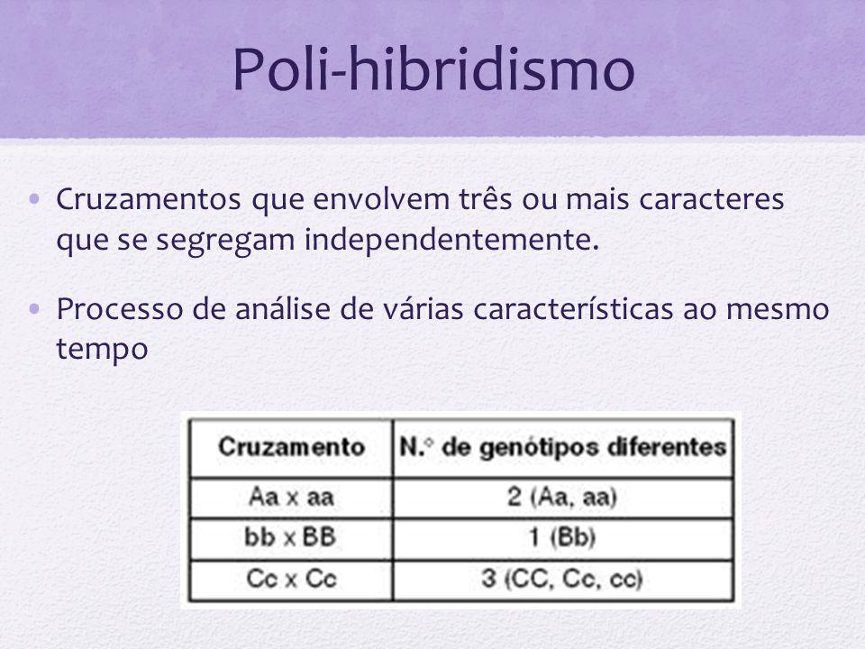 Poli-hibridismo Cruzamentos que envolvem três ou mais caracteres que se segregam independentemente. Processo de análise de várias características ao m