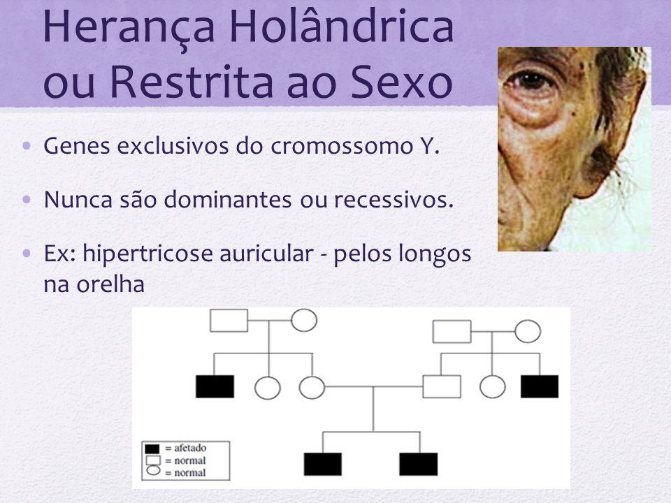 Herança Holândrica ou Restrita ao Sexo Genes exclusivos do cromossomo Y. Nunca são dominantes ou recessivos. Ex: hipertricose auricular - pelos longos
