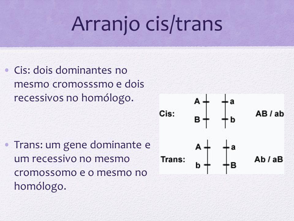 Arranjo cis/trans Cis: dois dominantes no mesmo cromosssmo e dois recessivos no homólogo. Trans: um gene dominante e um recessivo no mesmo cromossomo