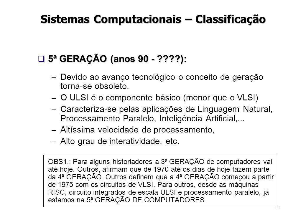 10 5ª GERAÇÃO (anos 90 - ????): 5ª GERAÇÃO (anos 90 - ????): –Devido ao avanço tecnológico o conceito de geração torna-se obsoleto. –O ULSI é o compon