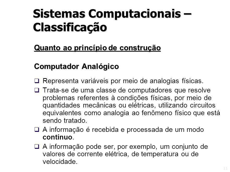 11 Quanto ao princípio de construção Computador Analógico Representa variáveis por meio de analogias físicas. Trata-se de uma classe de computadores q