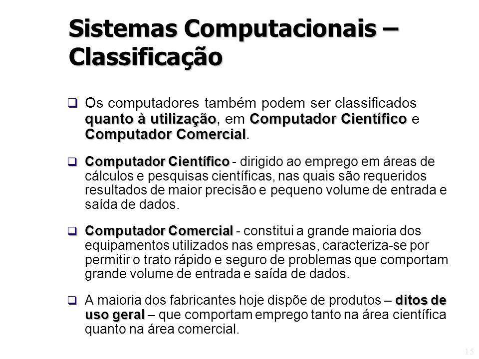 15 quanto à utilizaçãoComputador Científico Computador Comercial Os computadores também podem ser classificados quanto à utilização, em Computador Científico e Computador Comercial.