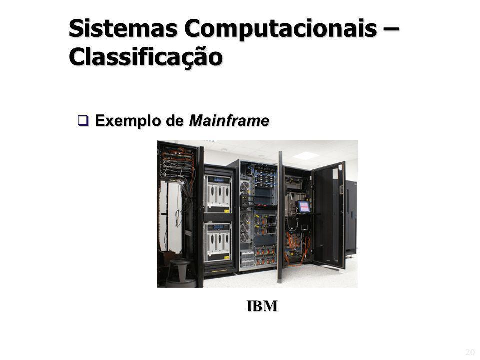 20 Exemplo de Mainframe Exemplo de Mainframe Sistemas Computacionais – Classificação IBM