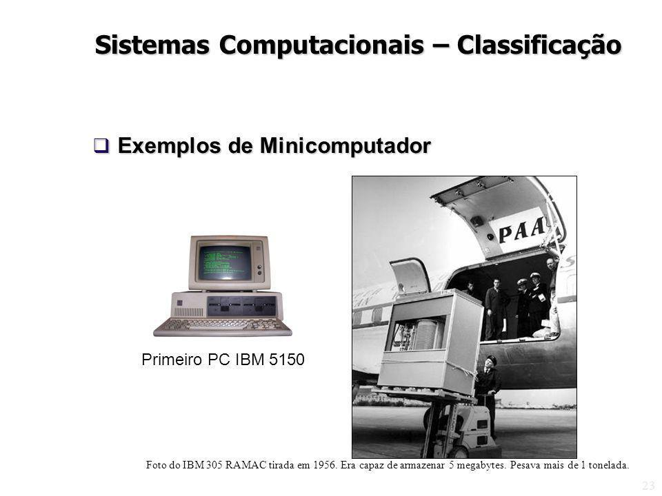 23 Exemplos de Minicomputador Exemplos de Minicomputador Primeiro PC IBM 5150 Sistemas Computacionais – Classificação Foto do IBM 305 RAMAC tirada em 1956.