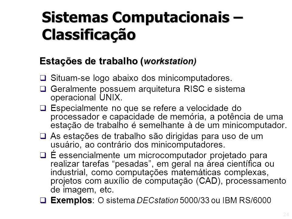 24 Estações de trabalho ( workstation) Situam-se logo abaixo dos minicomputadores. Geralmente possuem arquitetura RISC e sistema operacional UNIX. Esp