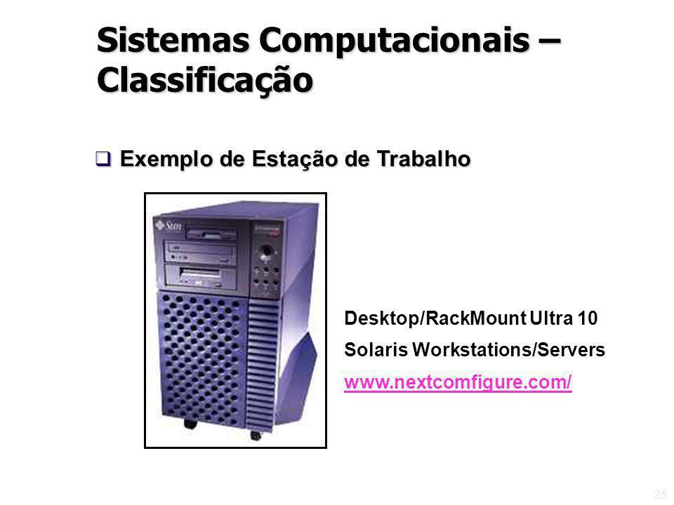 25 Desktop/RackMount Ultra 10 Solaris Workstations/Servers www.nextcomfigure.com/ Exemplo de Estação de Trabalho Exemplo de Estação de Trabalho Sistemas Computacionais – Classificação