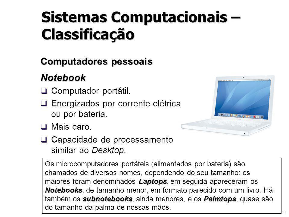 29 Computadores pessoais Notebook Computador portátil. Energizados por corrente elétrica ou por bateria. Mais caro. Capacidade de processamento simila