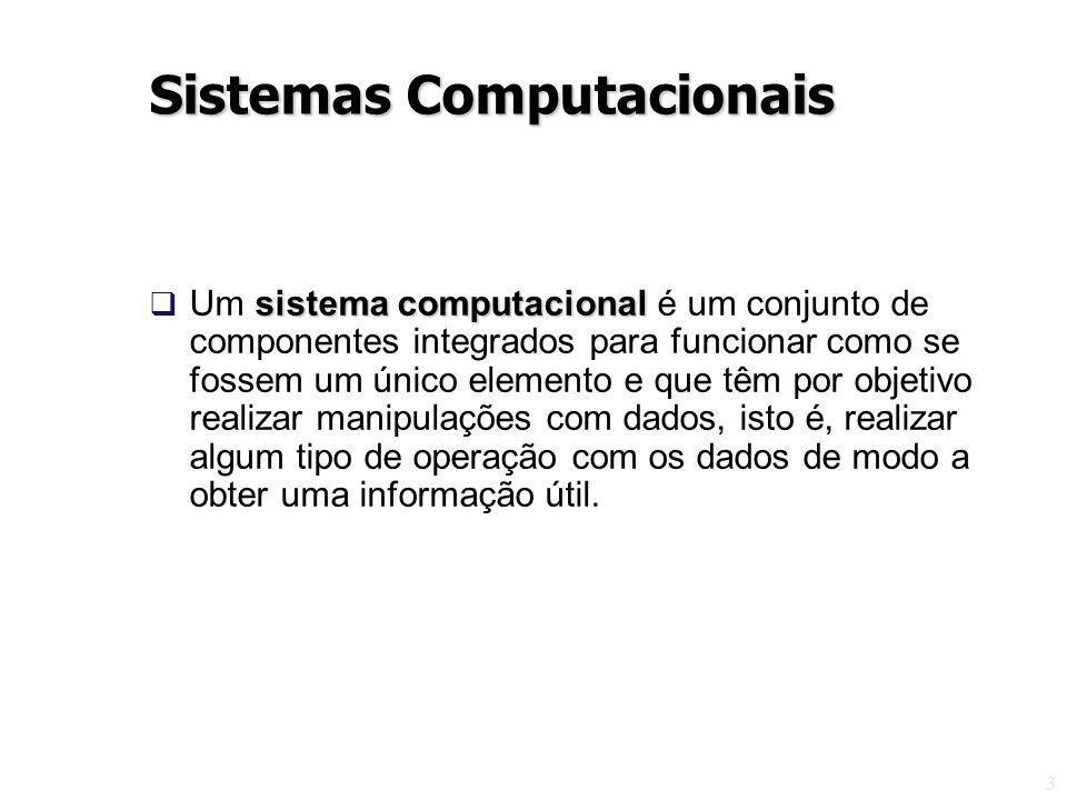 3 sistema computacional Um sistema computacional é um conjunto de componentes integrados para funcionar como se fossem um único elemento e que têm por objetivo realizar manipulações com dados, isto é, realizar algum tipo de operação com os dados de modo a obter uma informação útil.