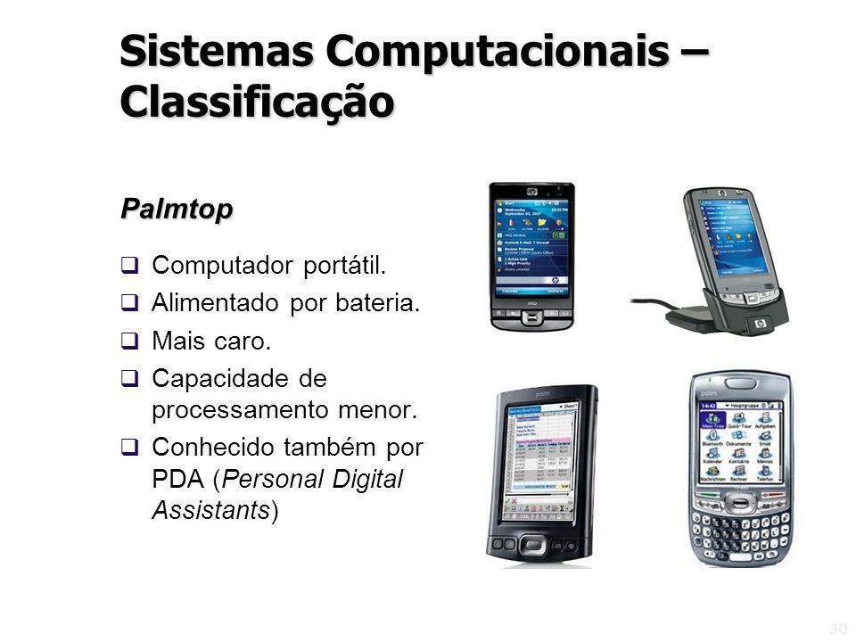 30 Palmtop Computador portátil. Alimentado por bateria. Mais caro. Capacidade de processamento menor. Conhecido também por PDA (Personal Digital Assis