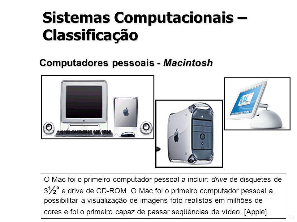 32 Computadores pessoais - Macintosh O Mac foi o primeiro computador pessoal a incluir: drive de disquetes de 3 ½ e drive de CD-ROM. O Mac foi o prime