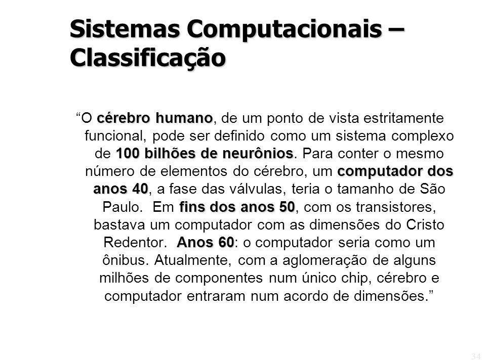 34 cérebro humano 100 bilhões de neurônios computador dos anos 40 fins dos anos 50 Anos 60 O cérebro humano, de um ponto de vista estritamente funcion