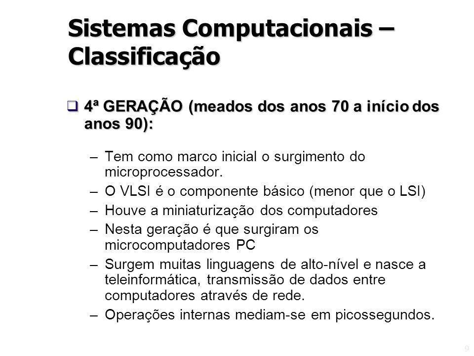 9 4ª GERAÇÃO (meados dos anos 70 a início dos anos 90): 4ª GERAÇÃO (meados dos anos 70 a início dos anos 90): –Tem como marco inicial o surgimento do microprocessador.