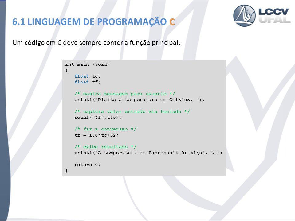 Um código em C deve sempre conter a função principal. C 6.1 LINGUAGEM DE PROGRAMAÇÃO C int main (void) { float tc; float tf; /* mostra mensagem para u