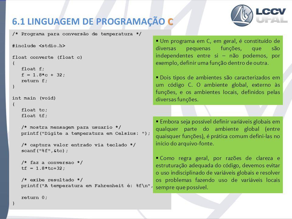 C 6.1 LINGUAGEM DE PROGRAMAÇÃO C /* Programa para conversão de temperatura */ #include float converte (float c) { float f; f = 1.8*c + 32; return f; }