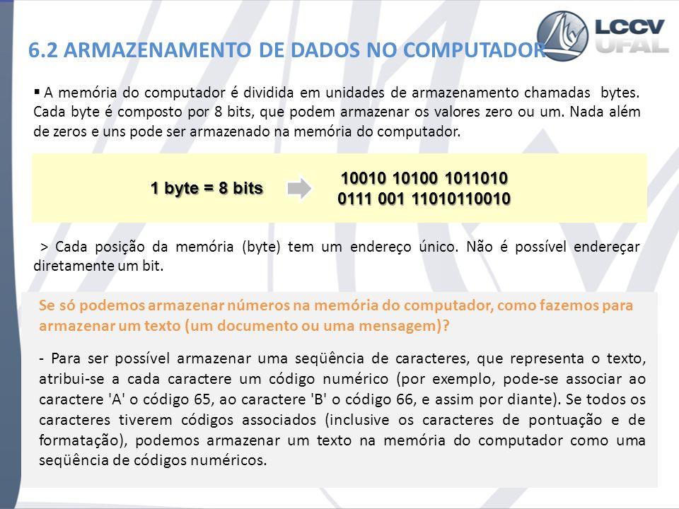 6.2 ARMAZENAMENTO DE DADOS NO COMPUTADOR A memória do computador é dividida em unidades de armazenamento chamadas bytes. Cada byte é composto por 8 bi