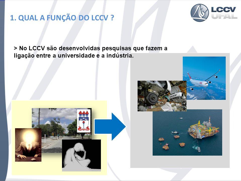 1. QUAL A FUNÇÃO DO LCCV ? > No LCCV são desenvolvidas pesquisas que fazem a ligação entre a universidade e a indústria.
