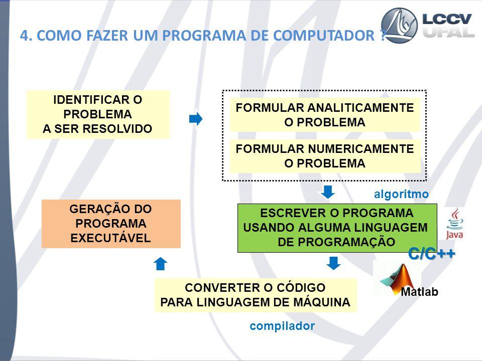 4. COMO FAZER UM PROGRAMA DE COMPUTADOR ? IDENTIFICAR O PROBLEMA A SER RESOLVIDO FORMULAR ANALITICAMENTE O PROBLEMA FORMULAR NUMERICAMENTE O PROBLEMA