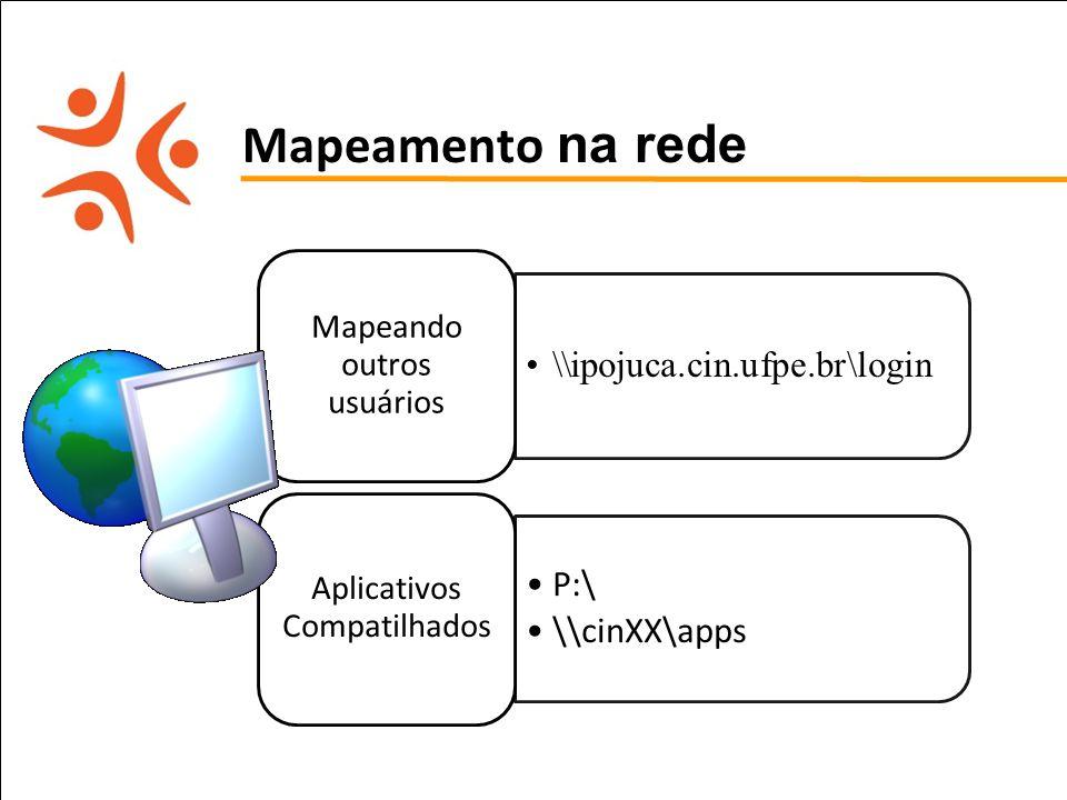 pet computação UFPE Mapeamento na rede \\ipojuca.cin.ufpe.br\login Mapeando outros usuários P:\ \\cinXX\apps Aplicativos Compatilhados