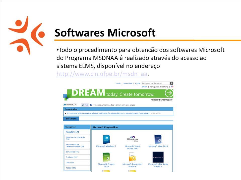 pet computação UFPE Softwares Microsoft Todo o procedimento para obtenção dos softwares Microsoft do Programa MSDNAA é realizado através do acesso ao