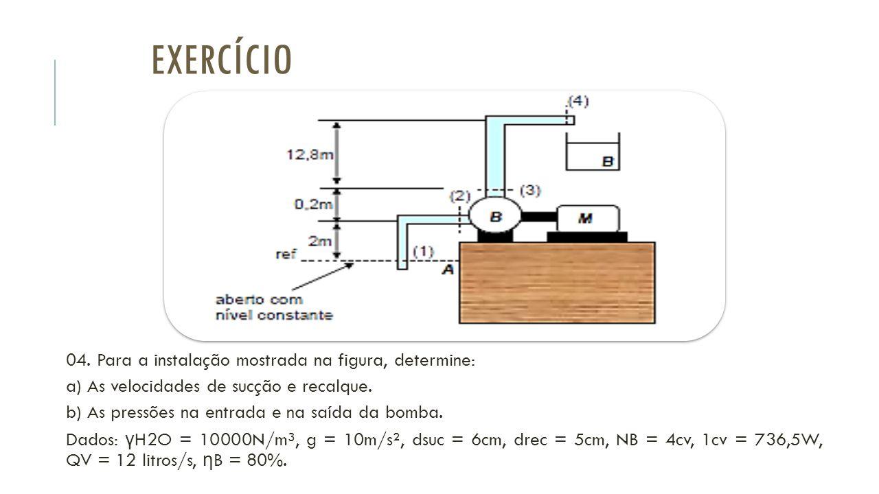 EXERCÍCIO 04. Para a instalação mostrada na figura, determine: a) As velocidades de sucção e recalque. b) As pressões na entrada e na saída da bomba.