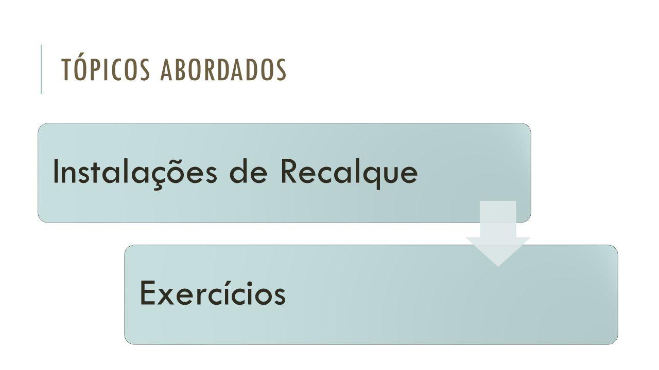 TÓPICOS ABORDADOS Instalações de RecalqueExercícios