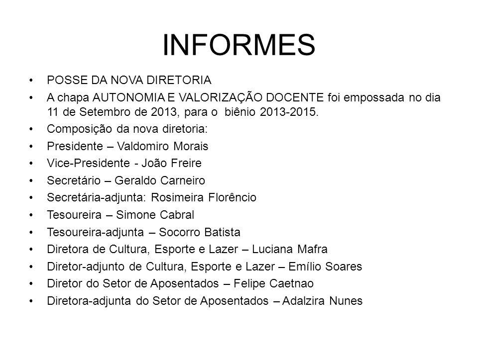 INFORMES POSSE DA NOVA DIRETORIA A chapa AUTONOMIA E VALORIZAÇÃO DOCENTE foi empossada no dia 11 de Setembro de 2013, para o biênio 2013-2015. Composi