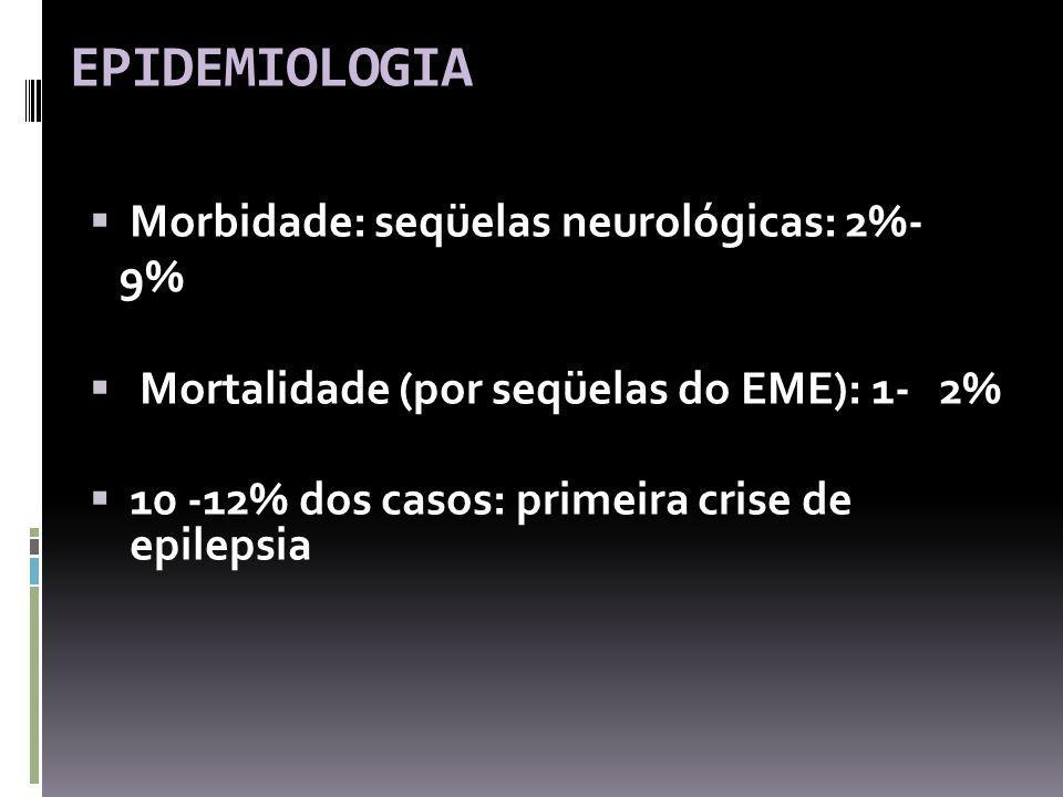 EPIDEMIOLOGIA Morbidade: seqüelas neurológicas: 2%- 9% Mortalidade (por seqüelas do EME): 1- 2% 10 -12% dos casos: primeira crise de epilepsia