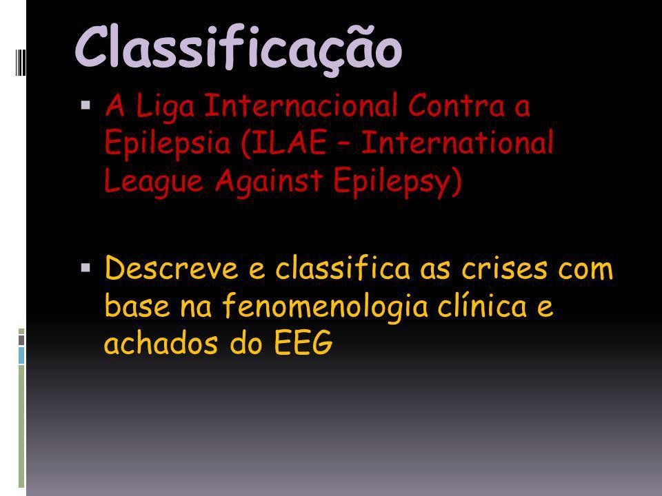 Classificação A Liga Internacional Contra a Epilepsia (ILAE – International League Against Epilepsy) Descreve e classifica as crises com base na fenomenologia clínica e achados do EEG