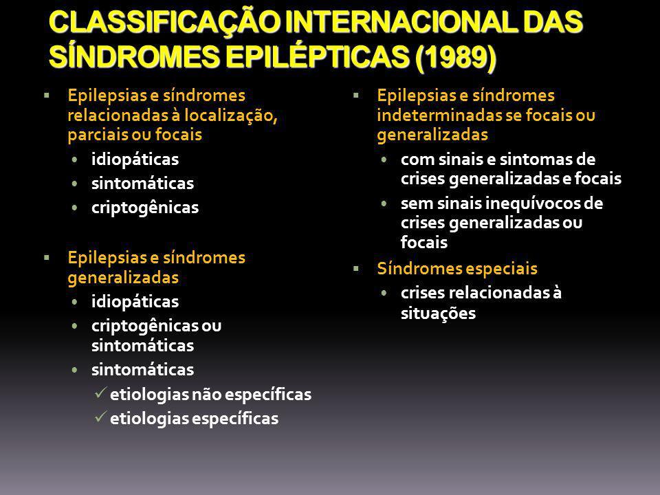 CLASSIFICAÇÃO INTERNACIONAL DAS SÍNDROMES EPILÉPTICAS (1989) Epilepsias e síndromes relacionadas à localização, parciais ou focais idiopáticas sintomáticas criptogênicas Epilepsias e síndromes generalizadas idiopáticas criptogênicas ou sintomáticas sintomáticas etiologias não específicas etiologias específicas Epilepsias e síndromes indeterminadas se focais ou generalizadas com sinais e sintomas de crises generalizadas e focais sem sinais inequívocos de crises generalizadas ou focais Síndromes especiais crises relacionadas à situações