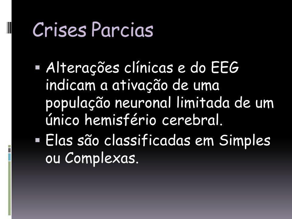 Crises Parcias Alterações clínicas e do EEG indicam a ativação de uma população neuronal limitada de um único hemisfério cerebral.