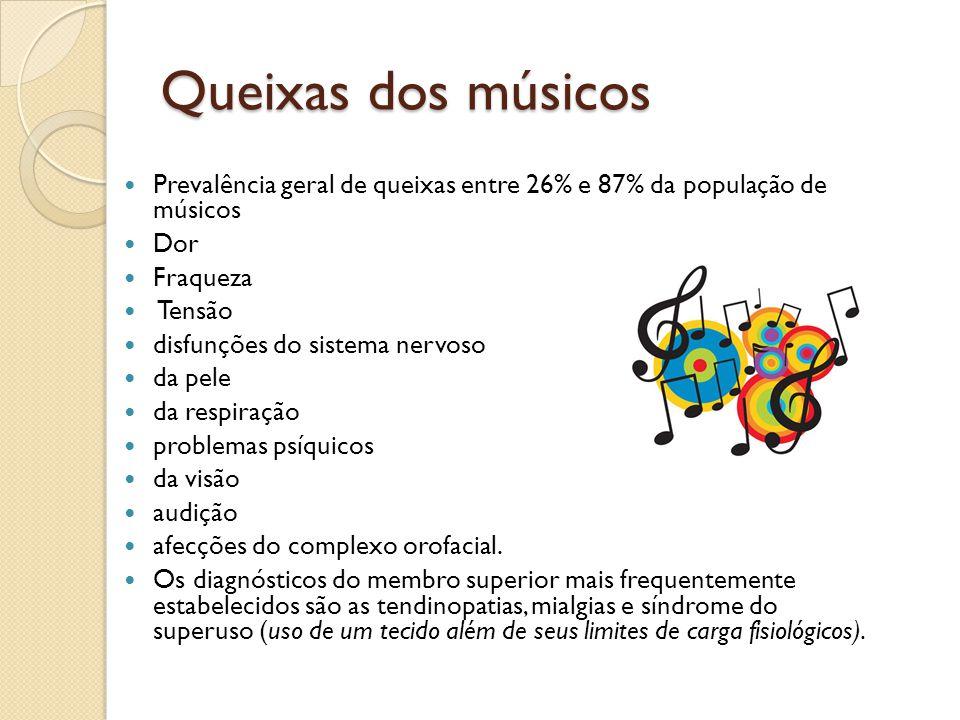 Queixas dos músicos Prevalência geral de queixas entre 26% e 87% da população de músicos Dor Fraqueza Tensão disfunções do sistema nervoso da pele da respiração problemas psíquicos da visão audição afecções do complexo orofacial.
