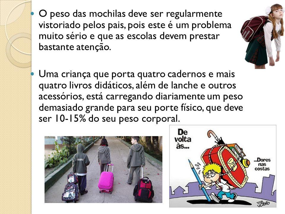 O peso das mochilas deve ser regularmente vistoriado pelos pais, pois este é um problema muito sério e que as escolas devem prestar bastante atenção.