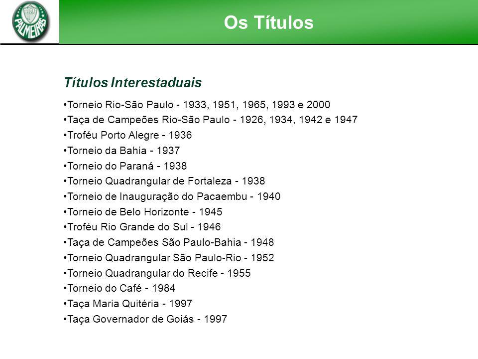 Títulos Nacionais Campeonato Brasileiro - 1972, 1973, 1993 e 1994 Torneio Roberto Gomes Pedrosa - 1967 e 1969 Copa do Brasil - 1998 Taça Brasil - 1960