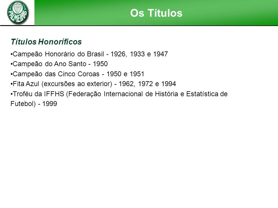 Os Títulos Títulos Estaduais Campeonato Paulista - 1920, 1926 (invicto), 1927, 1932 (invicto), 1933, 1934, 1936, 1940, 1942, 1944, 1947,1950, 1959 (su