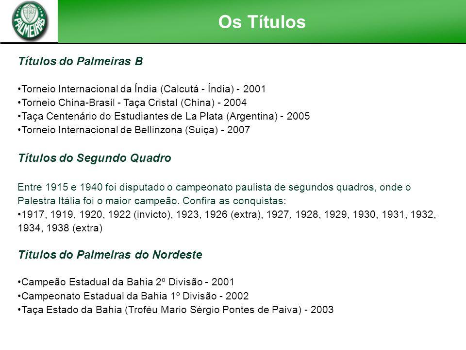 Os Títulos Títulos Honoríficos Campeão Honorário do Brasil - 1926, 1933 e 1947 Campeão do Ano Santo - 1950 Campeão das Cinco Coroas - 1950 e 1951 Fita
