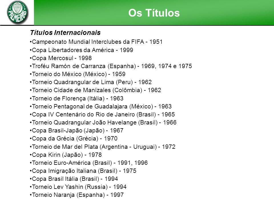 Títulos Internacionais Campeonato Mundial Interclubes da FIFA - 1951 Copa Libertadores da América - 1999 Copa Mercosul - 1998 Troféu Ramón de Carranza (Espanha) - 1969, 1974 e 1975 Torneio do México (México) - 1959 Torneio Quadrangular de Lima (Peru) - 1962 Torneio Cidade de Manízales (Colômbia) - 1962 Torneio de Florença (Itália) - 1963 Torneio Pentagonal de Guadalajara (México) - 1963 Copa IV Centenário do Rio de Janeiro (Brasil) - 1965 Torneio Quadrangular João Havelange (Brasil) - 1966 Copa Brasil-Japão (Japão) - 1967 Copa da Grécia (Grécia) - 1970 Torneio de Mar del Plata (Argentina - Uruguai) - 1972 Copa Kirin (Japão) - 1978 Torneio Euro-América (Brasil) - 1991, 1996 Copa Imigração Italiana (Brasil) - 1975 Copa Brasil Itália (Brasil) - 1994 Torneio Lev Yashin (Russia) - 1994 Torneio Naranja (Espanha) - 1997 Os Títulos