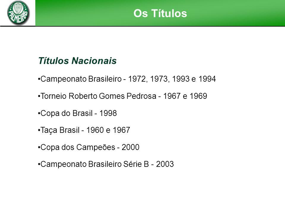 Títulos Nacionais Campeonato Brasileiro - 1972, 1973, 1993 e 1994 Torneio Roberto Gomes Pedrosa - 1967 e 1969 Copa do Brasil - 1998 Taça Brasil - 1960 e 1967 Copa dos Campeões - 2000 Campeonato Brasileiro Série B - 2003