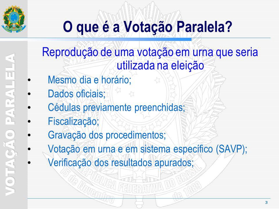 4 VOTAÇÃO PARALELA Objetivo Coordenar trabalhos de votação paralela na UF Designação Até 30 dias antes do pleito Composição 1 Juiz de Direito (presidente) 4 servidores do TRE Partidos Acompanham e fiscalizam os trabalhos.