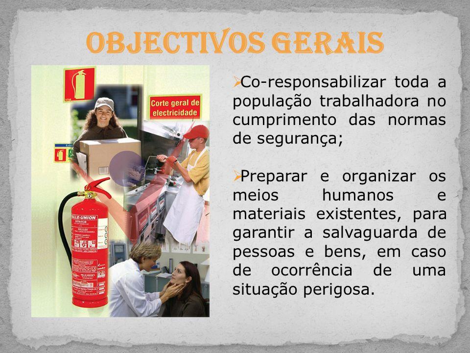 Co-responsabilizar toda a população trabalhadora no cumprimento das normas de segurança; Preparar e organizar os meios humanos e materiais existentes,
