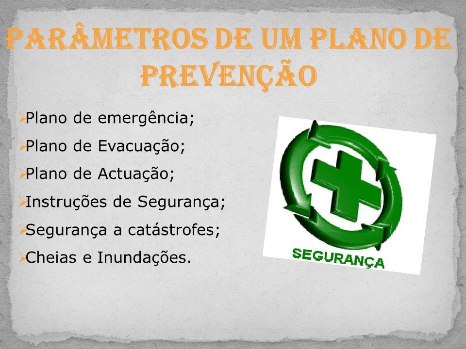 Parâmetros de um Plano de Prevenção Plano de emergência; Plano de Evacuação; Plano de Actuação; Instruções de Segurança; Segurança a catástrofes; Chei