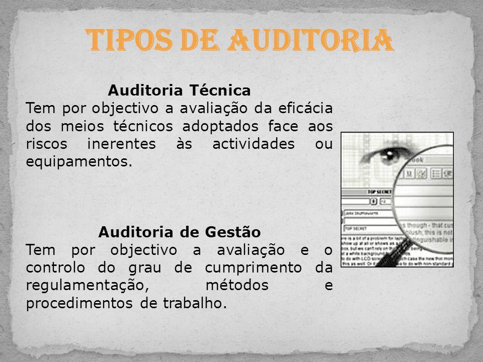 Tipos de Auditoria Auditoria Técnica Tem por objectivo a avaliação da eficácia dos meios técnicos adoptados face aos riscos inerentes às actividades o