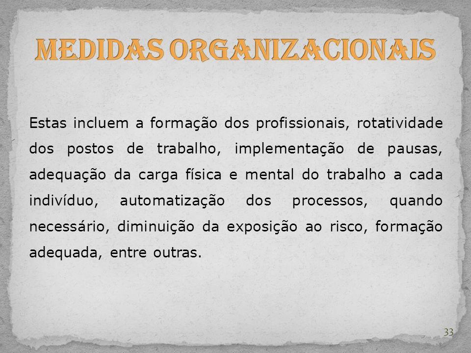 Estas incluem a formação dos profissionais, rotatividade dos postos de trabalho, implementação de pausas, adequação da carga física e mental do trabal