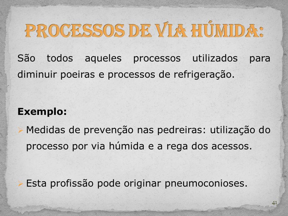 São todos aqueles processos utilizados para diminuir poeiras e processos de refrigeração. Exemplo: Medidas de prevenção nas pedreiras: utilização do p