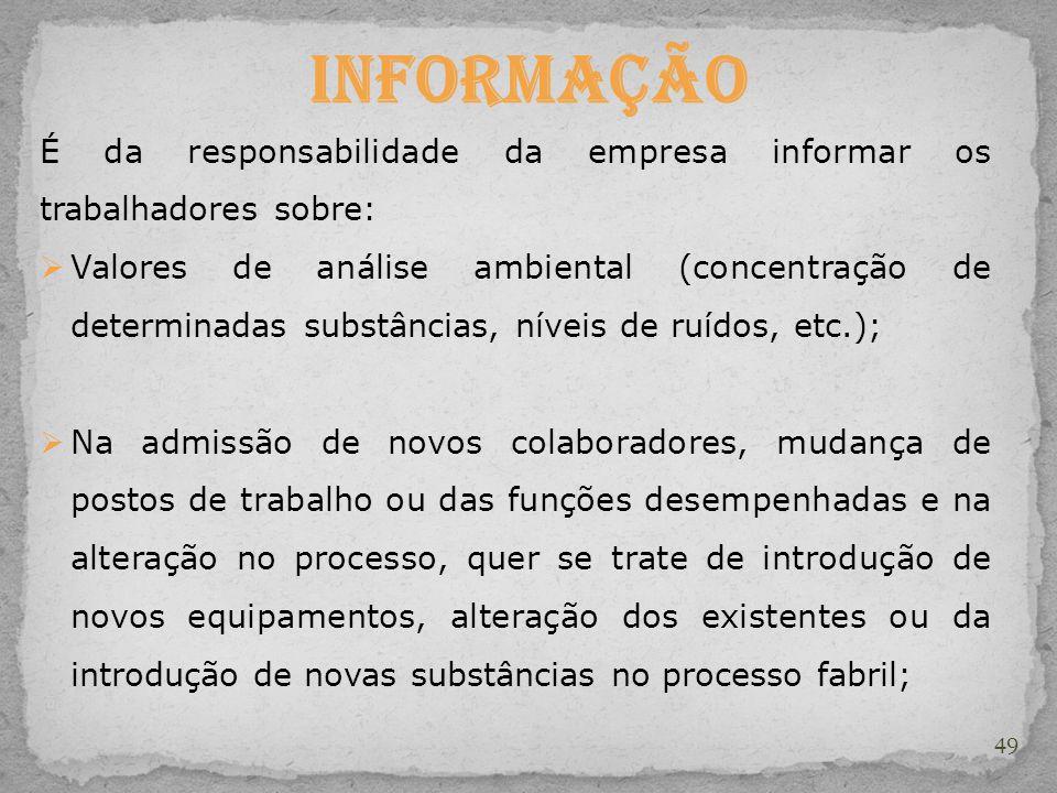 49 Informação É da responsabilidade da empresa informar os trabalhadores sobre: Valores de análise ambiental (concentração de determinadas substâncias