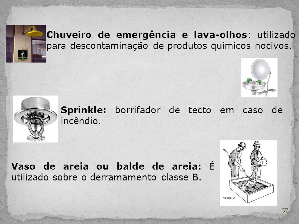 57 Chuveiro de emergência e lava-olhos: utilizado para descontaminação de produtos químicos nocivos. Sprinkle: borrifador de tecto em caso de incêndio