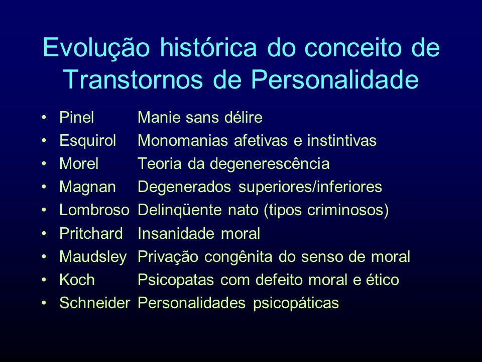 Evolução histórica do conceito de Transtornos de Personalidade PinelManie sans délire EsquirolMonomanias afetivas e instintivas MorelTeoria da degener