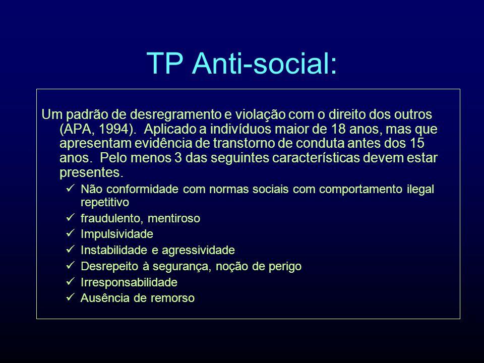 TP Anti-social: Um padrão de desregramento e violação com o direito dos outros (APA, 1994). Aplicado a indivíduos maior de 18 anos, mas que apresentam