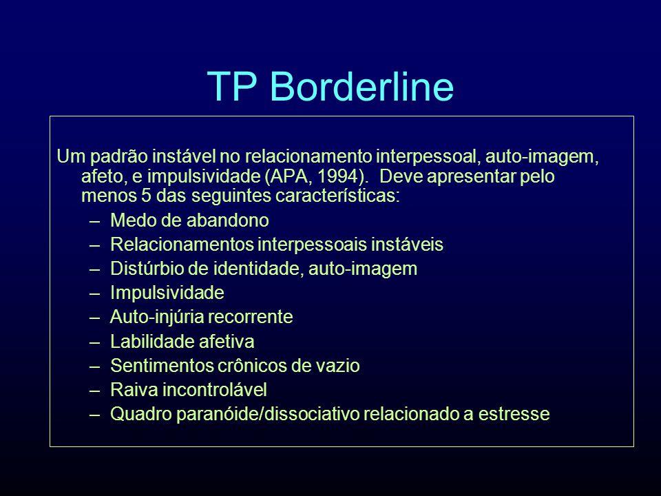 TP Borderline Um padrão instável no relacionamento interpessoal, auto-imagem, afeto, e impulsividade (APA, 1994). Deve apresentar pelo menos 5 das seg