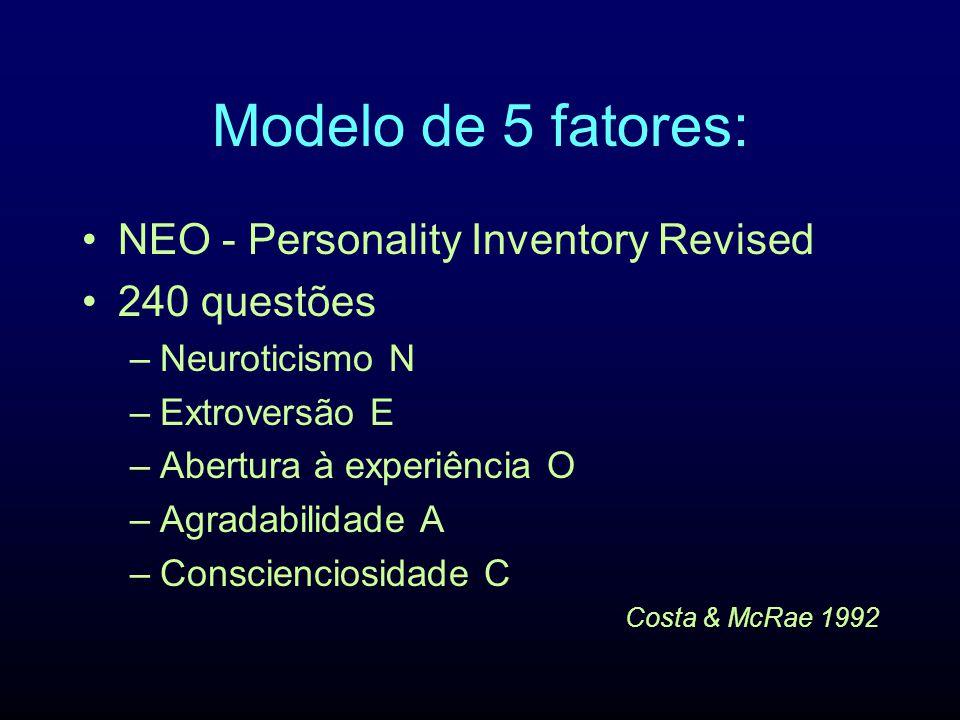 Modelo de 5 fatores: NEO - Personality Inventory Revised 240 questões –Neuroticismo N –Extroversão E –Abertura à experiência O –Agradabilidade A –Cons