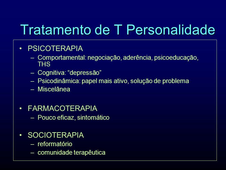 Tratamento de T Personalidade PSICOTERAPIA –Comportamental: negociação, aderência, psicoeducação, THS –Cognitiva: depressão –Psicodinâmica: papel mais